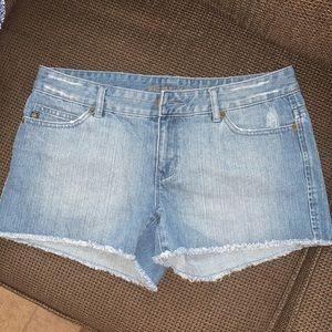 MK raw hem blue jean shorts